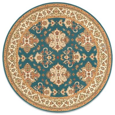 Momeni Persian Garden 8 Foot Round Teal Blue Rug