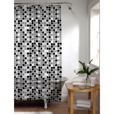 Bon Tiles Shower Curtain In Black/White