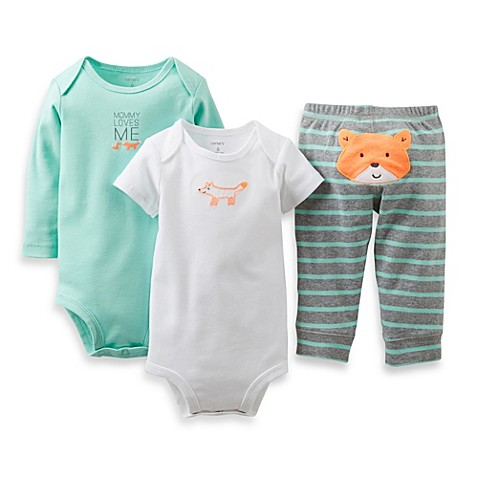 Carter s 3 Piece Fox Pant Set in Turquoise Grey BABY