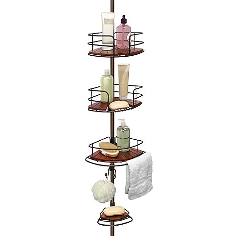 Tension Pole Shower Corner Caddy in Teak/Oil Rubbed Bronze - Bed ...