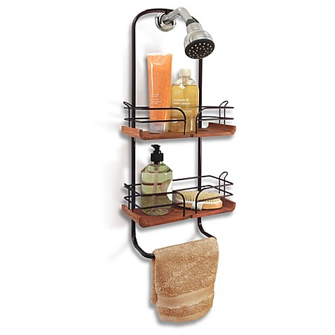 Teak and Oil Rubbed Bronze Shower Caddy - Bed Bath & Beyond