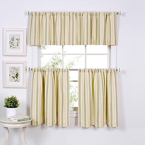 Buy updated ticking 36 inch window curtain tier pair in sage from bed bath beyond for 36 inch bathroom window curtains