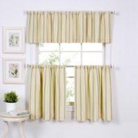 Updated Ticking 36-Inch Window Curtain Tier Pair in Sage