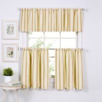 Updated Ticking 36-Inch Window Curtain Tier Pair in Gold