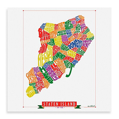 Staten island map framed wall art bed bath beyond staten island map framed wall art negle Images