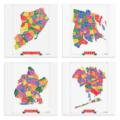 New York Borough Map Framed Wall Art