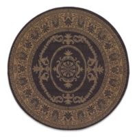 Couristan Antique Medallion 7-Foot 6-Inch Round Indoor/Outdoor Rug in Black/Cocoa