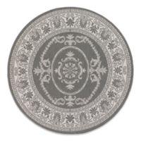 Couristan Antique Medallion 7-Foot 6-Inch Round Indoor/Outdoor Rug in Grey/White