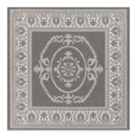 Couristan Antique Medallion 8-Foot 6-Inch Square Indoor/Outdoor Rug in Grey/White