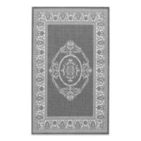 Couristan Antique Medallion 5-Foot 3-Inch x 7-Foot 6-Inch Indoor/Outdoor Rug in Grey/White