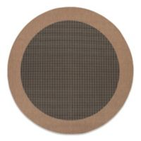 Couristan® Checkered Field 7-Foot 6-Inch Round Rug in Black/Cocoa