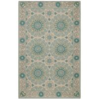 Momeni Suzani 2-Foot x 3-Foot Hook Rug in Aqua