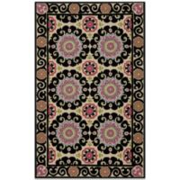 Momeni Suzani 3-Foot 6-Inch x 5-Foot 6-Inch Hook Rug in Black