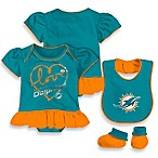 NFL Miami Dolphins Size 3-6M 3-Piece Girl Creeper Bib and Bootie Set