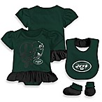NFL New York Jets Size 3-6M 3-Piece Girl Creeper Bib and Bootie Set