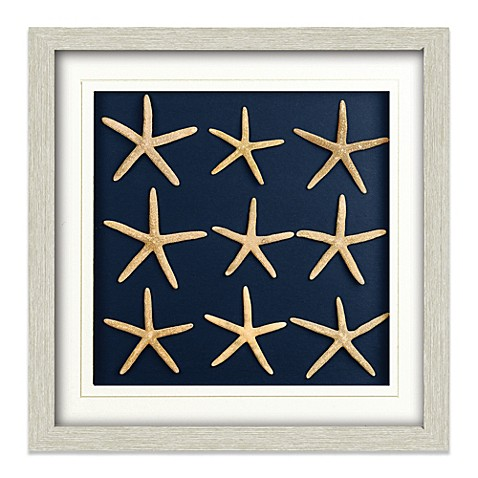 Nine Starfish Shadowbox Wall Art in White