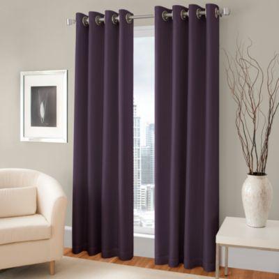 Majestic 63 Inch Blackout Lined Grommet Window Curtain Panel Aubergine