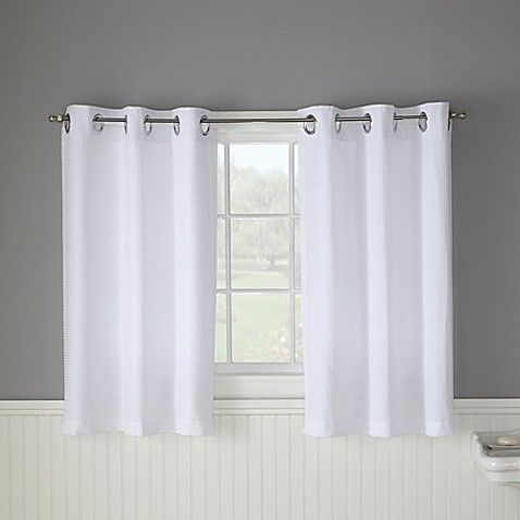 Hookless Waffle 45 Inch Bath Window Curtain In White Bed Bath Beyond
