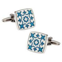 Fleur De Lis Cufflinks in Blue and White