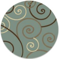 Concord Global Trading Scroll 5-Foot 3-Inch Round Rug in Blue