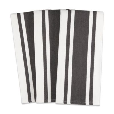 3 Pack Heavyweight Striped Kitchen Towels In Grey