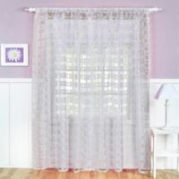 Flower Power Sheer Rod Pocket 84-Inch Window Curtain Panel in Snow White