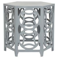 Safavieh Natanya Wood Side Table in Pearl Blue Grey