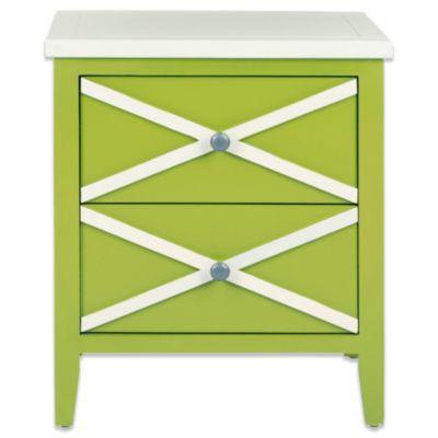 Elegant Safavieh Sherrilyn 2 Drawer Side Table In Green/White