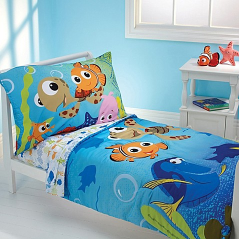 disney finding nemo 4 piece toddler bedding set bed bath beyond. Black Bedroom Furniture Sets. Home Design Ideas
