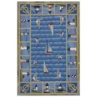 KAS Colonial Lighthouses 2-Foot 6-Inch x 4-Foot 2-Inch Rug in Blue