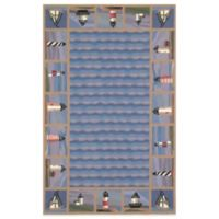 KAS Colonial Lighthouse Waves 2-Foot 6-Inch x 4-Foot 2-Inch Rug in Blue