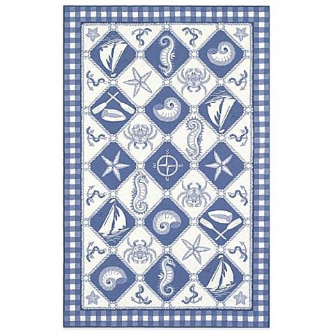 Kas Colonial Nautical Panel Indoor Rug In Blue Ivory Bed