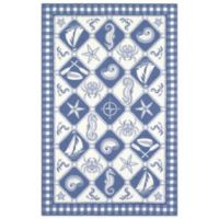 KAS Colonial Nautical Panel 2-Foot 6-Inch x 4-Foot 2-Inch Indoor Rug in Blue/Ivory