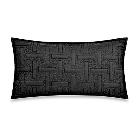 Black Throw Pillows Bed Bath And Beyond : DKNY Crosstown Oblong Throw Pillow in Black - Bed Bath & Beyond