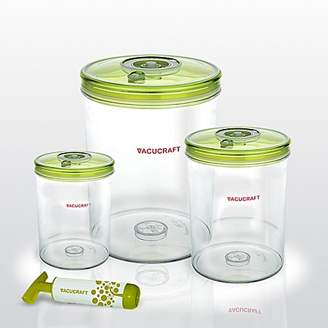 Vacucraft 4 Piece Cylinder Vacuum Seal Food Container Set