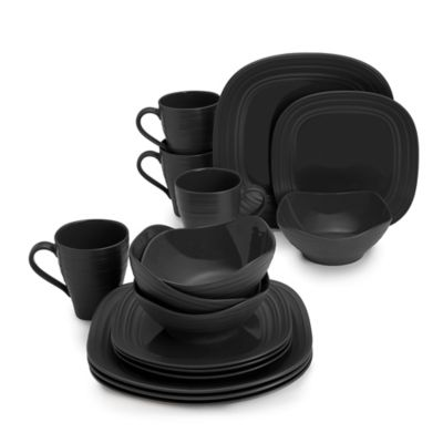 Mikasa® Swirl 16-Piece Square Dinnerware Set in Black  sc 1 st  Bed Bath u0026 Beyond & Buy Black Square Dinnerware Sets from Bed Bath u0026 Beyond