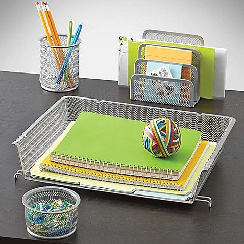 Mesh desk organizer 4 piece set bed bath beyond - Desk organizer sets ...