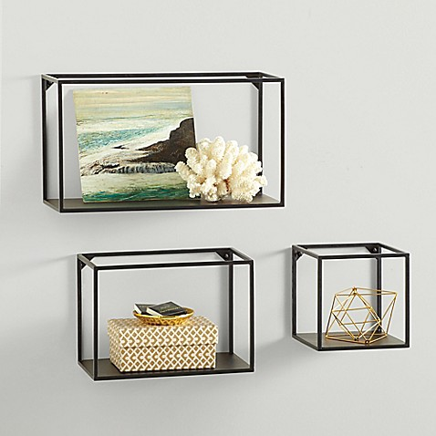 Real simple metal framed cubes set of 3 bed bath beyond - Cube wall decor ...