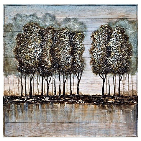 wood and metal tree oil painting frameless wall art - bed bath