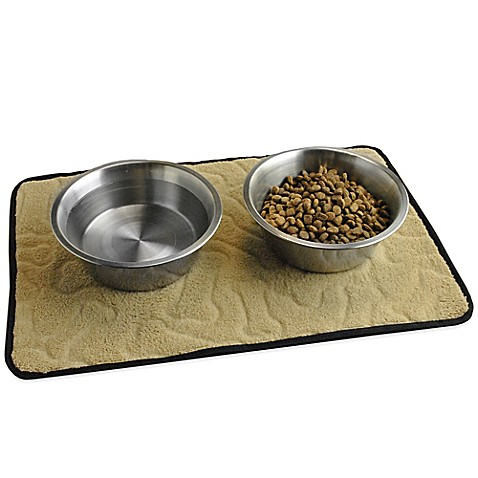 18 Inch X 12 Inch Bone Embossed Pet Mat In Taupe Bed
