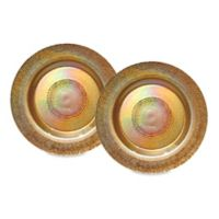 Dale Tiffany Glass Charger Plates in Gold (Set of 2)