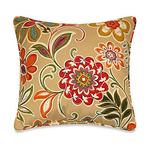 Modern Floral Pillows : Modern Floral Square Throw Pillows with Corded Trim in Spice (Set of 2) - Bed Bath & Beyond