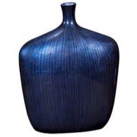 Howard Elliott Sleek Vase In Cobalt Blue With Brushed Black Accents