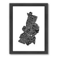 Americanflat Austin Typography Map Digital Print Wall Art in Black and White