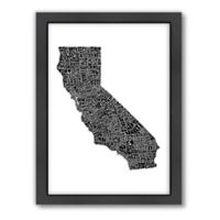 Americanflat California Typography Map Digital Print Wall Art in Black and White