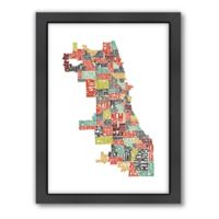Americanflat Chicago Typography Map Digital Print Wall Art in Color