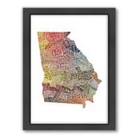 Americanflat Georgia Typography Map Digital Print Wall Art in Color