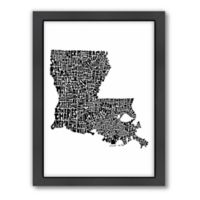 Americanflat Louisiana Typography Map Digital Print Wall Art in Black and White