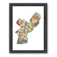 Americanflat Philadelphia Typography Map Digital Print Wall Art in Color