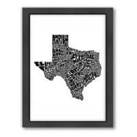 Americanflat Texas Typography Map Digital Print Wall Art in Black and White